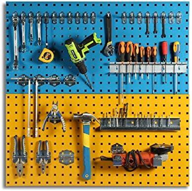パンチングボード ウォールコントロールフックボードは水平メタルフックボードガレージ工具収納用ガレージワークショップ倉庫ラック (Color : Photo Color, Size : 90x45cm)