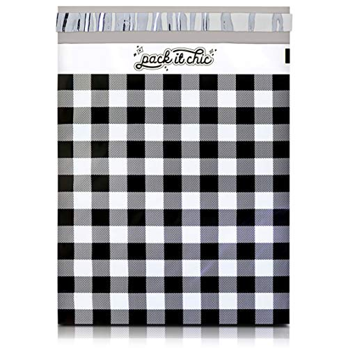 Pack It Chic - 10X13 (100 Pack) Gingham Plaid Poly Mailer Envelope Plastic Custom Mailing & Shipping Bags - Self Seal (More Designs Available)