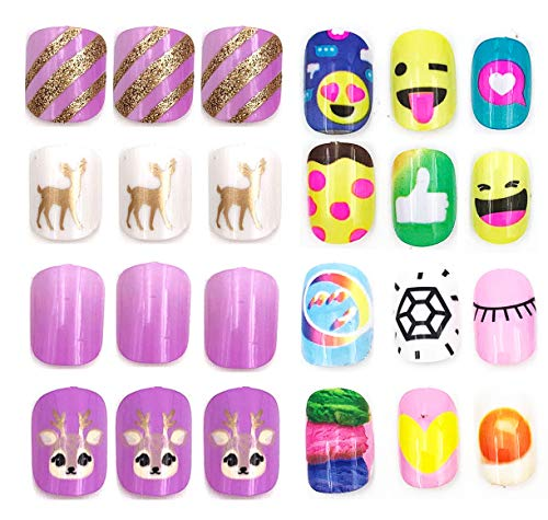 64pcs Colorful artificial nails for kids, Disposable Mini fake nail bar for kids with multi pattern and colors (K)