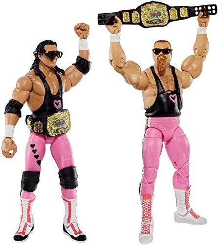 BRET HART & JIM NEIDHART (HART FOUNDATION) - WWE ELITE 43 MATTEL TOY WRESTLING ACTION FIGURES
