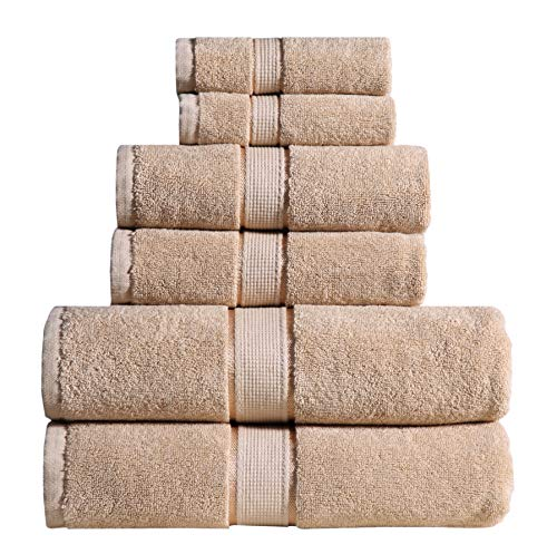 Wicker Park 600 GSM Ultra Soft 100% Cotton 6 Piece Towel Set (Taupe): 2 Bath Towels, 2 Hand Towels, 2 Washcloths, Long-Staple Cotton, Spa Hotel Quality, Super Absorbent, Machine Washable