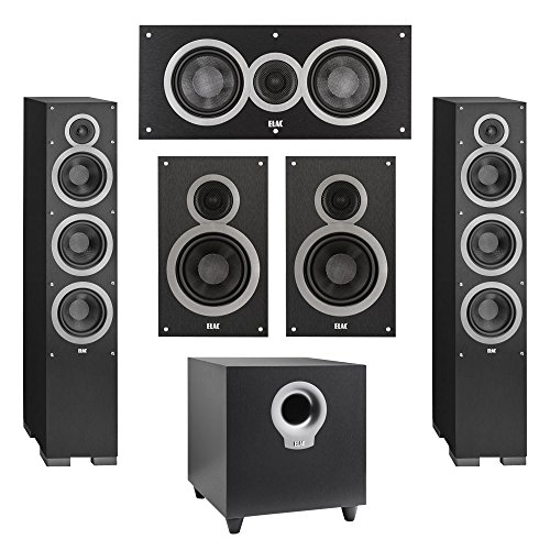 Elac 5.1 System with 2 Debut F6 Floorstanding Speakers, 1 Debut C5 Center Speaker, 2 Debut B6 Bookshelf Speakers, 1 Debut S10 Subwoofer by Elac