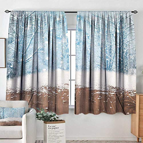 Elliot Dorothy Window Blackout Curtains Winter,Blizzard Scenery in Nature Wooden Planks Cold Freezing Morning Pine Trees Outdoors,Rod Pocket Curtain Panels for Bedroom & Kitchen -