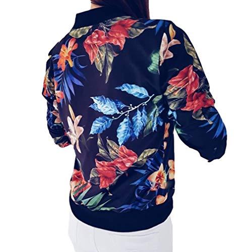 Otoño Casual Cremallera S Floral Bombardero Señoras Ropa Las Negro 5XL De Manera Señoras La Chaqueta Abrigo Mujeres del De Outwear De Retro 6qwOaqvH