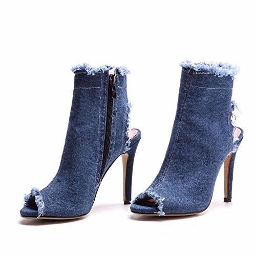 zapatos el con de peces y frías la el primavera mujer botas La blue verano tamaño mujer fina zapatos de de boquilla los qxEHUx07w