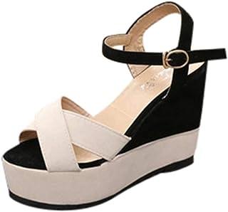 Femme Sandales,Femmes Dames Couleurs mélangées Boucle Peep Toe Compensée Mocassins Casual Sandales Chaussures,Chaussures de Sport