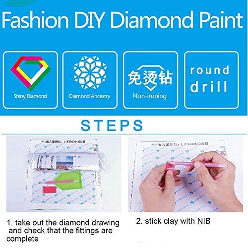 DIY Round Diamond Painting Kits for Adults Full Drill Cross Stitch River Tree Scenery Home Decoration 40x30CM