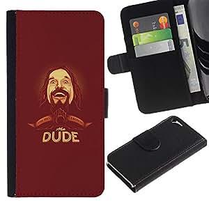 "Apple iPhone 5 / iPhone 5S , la tarjeta de Crédito Slots PU Funda de cuero Monedero caso cubierta de piel ("" Dude Beard Hipster Man Portrait Drawing"")"