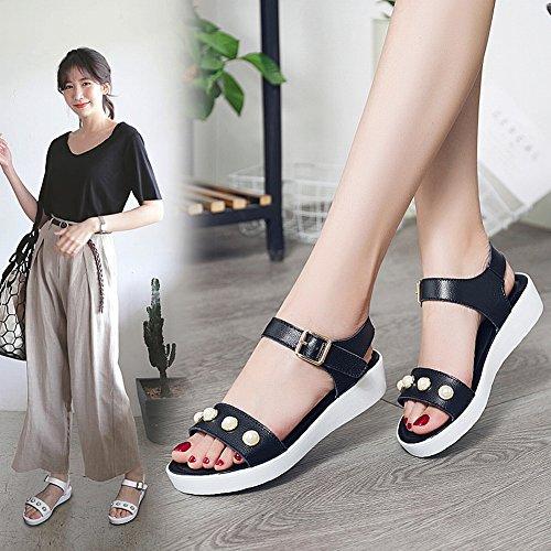 Pelle Nero Tutte Scarpe Comode Scarpe con in YTTY Moda Perline Traspirante Abbinabili Sandali Sandali qwZqz0SO