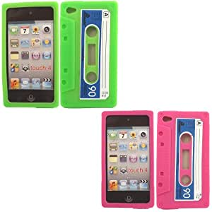 2 Pack Cassette Silicone Case Cover Skin For Apple iPod Touch 4 4th Generation / Green And Pink