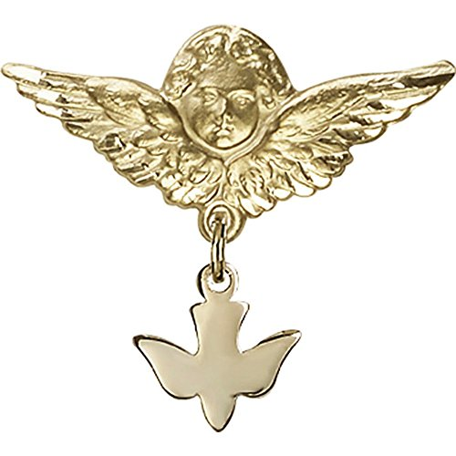 14kt Yellow Gold Baby Badge with Holy Spirit Charm and Angel w/Wings Badge Pin 1 X 1 1/8 inches by Unknown