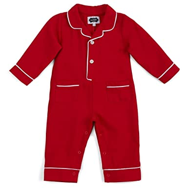 bfd76e0a4411 Amazon.com  Mud Pie Unisex Baby Red One-Piece Flannel Pajamas with ...