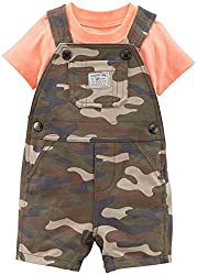 Carter's Baby Boys' 2 Piece Print Shortall Set (Baby) - Olive - 3 Months