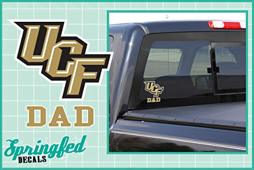 UCF Knights GOLD DAD w/STACKED UCF LOGO Vinyl Decal Central Florida Knights Car Window Sticker ()