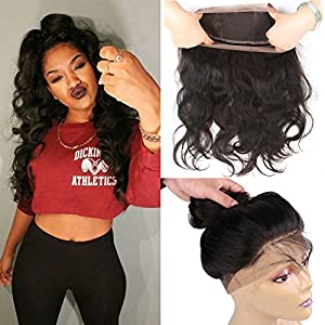 Flady Hair 360 Lace Frontal Closure Free Part Brazilian Body Wave Weave Virgin Human Hair 7A Natural Hairline Lace Band (20 inch)