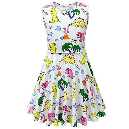 SAYEI Toddler Kid Baby Girl Cartoon Dinosaur Letter Printed Casual Dress Cloth White -