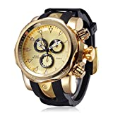 JIANGYUYAN Mens Unique Analog Quartz Waterproof Casual Sport Business Wrist Watch (Gold)