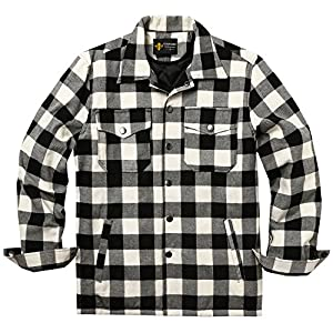 COOFANDY Mens Flannel Thermal Lined Plaid Button Down Shirt Jacket Outdoor Coat