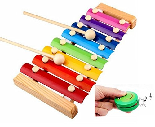 Melody Xylophone and Castanets Baby's Early Education Wooden Musical Instrument Toys Trailer 8 Scales , 2413cm