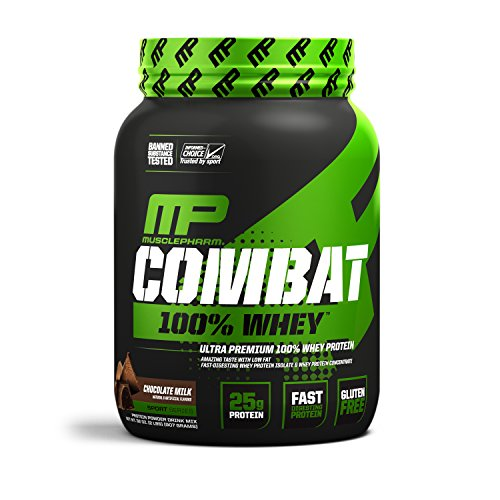 MusclePharm Combat 100% Whey, Muscle-Building Whey Protein Powder, 25 g of Ultra-Premium, Gluten-Free, Low-Fat Blend of Fast-Digesting Whey Protein, Chocolate Milk, 2-Pound, 27 Servings (Best Milk To Use With Whey Protein)