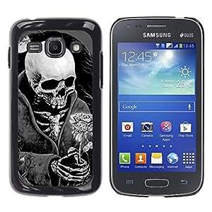 Shell-Star Arte & diseño plástico duro Fundas Cover Cubre Hard Case Cover para Samsung Galaxy Ace 3 III / GT-S7270 / GT-S7275 / GT-S7272 ( Death Skull Black White Moon Rose )