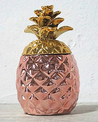 Surprise Pineapple Decorative Ceramic Jar, Gift ad Christmas Item (Rose Gold)