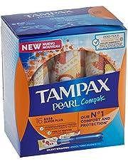 Tampax Pearl Compak, 128 stuks, super Plus, tampons met applicator, die comfort, bescherming en discretie bieden