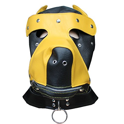 iEFiEL Yellow Faux Leather Gimp Mask Dog Puppy Head Hood Zip Mouth -