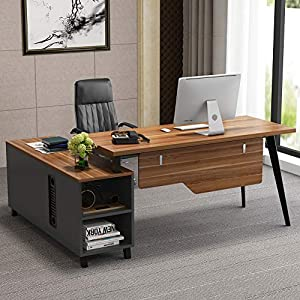 LITTLE TREE Large L-Shaped Desk, Executive Office Desk Computer Table Workstation with Storage, Business Furniture with File Cabinet, Dark Walnut + Stainless Steel Legs