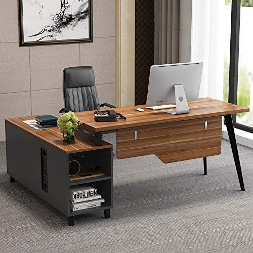 L-Shaped Desk, Tribesigns Large Executive Office Desk Computer Table Workstation with Storage, Business Furniture with File Cabinet, Dark Walnut + Stainless Steel Legs