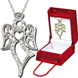N933BB Forever Silver Crystal Dancer Angel Pendant with gift box102843-Silver