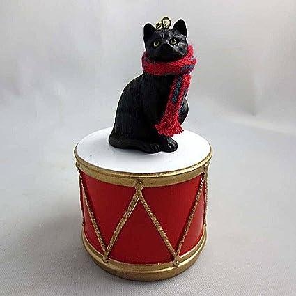 little drummer black cat christmas ornament hand painted delightful - Black Cat Christmas Ornament