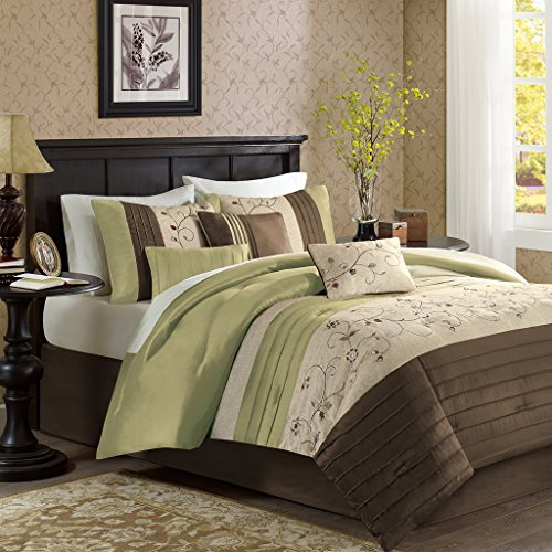 Madison Park Serene Queen Size Bed Comforter Set Bed In A Bag - Green, Embroidered – 7 Pieces Bedding Sets – Faux Silk Bedroom (Green Queen Comforter Set)
