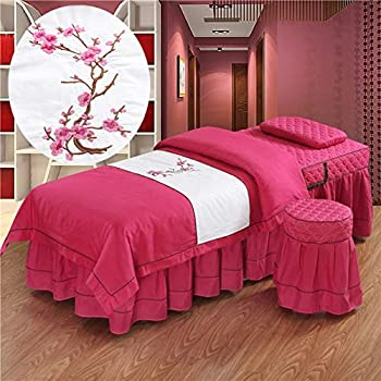 Image of Home and Kitchen ALHBNAY Premium Massage Bed Cover, Luxury Embroidery Massage 4ps, Simple Salon Physiotherapy Bed Skirt Bedspreads Square Head-red 70x185cm(28x73inch)