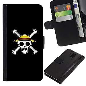 Be Good Phone Accessory // Caso del tirón Billetera de Cuero Titular de la tarjeta Carcasa Funda de Protección para Samsung Galaxy Note 3 III N9000 N9002 N9005 // Design Happy Skull S