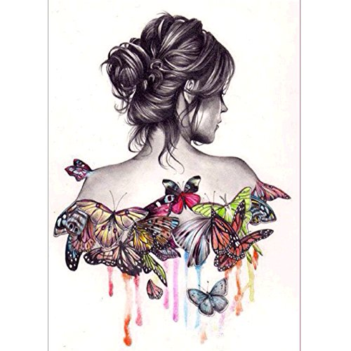 5D Diamond Painting By Number Kits Cross Stitch DIY Craft Butterfly Beauty Girl Decor(30x40CM)