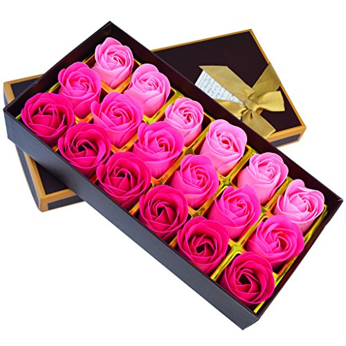 18 Pcs Artificial Rose Floral Scented Bath Soap Rose Flower Petals, Nydotd Plant Essential Oil Soap Set shaped Petals Gifts for Women Teens Girls Mom Birthdays Anniversary Wedding Valentine's Day ()