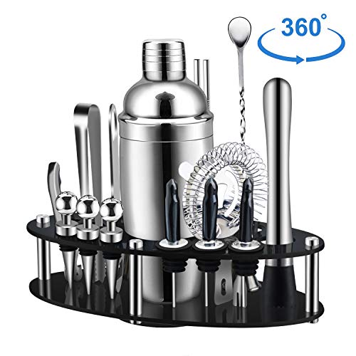 X-cosrack Bar Set,19-Piece Cocktail Shaker Set with Oval Rotating Display Stand,SS304 Stainless Steel Premium Bartender Kit for Home,Bar,Party