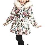 Girl's Winter Flower Cotton Coat Jacket Parka Outwear Beige Tag 130CM