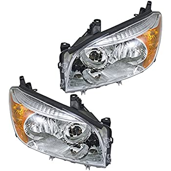 Headlights Headlamps Left & Right Pair Set for 06-08 Toyota Rav4 Rav-4