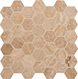 M S International Caramello Hexagon 12 In. X 10 mm Honed & Filled Travertine Mesh-Mounted Mosaic Tile, (10 sq. ft., 10 pieces per case)