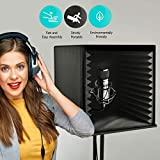 Sound Isolation Recording Shield Box - Microphone Foam Booth Cube, Sound Dampening Filter - Audio Acoustic Noise Isolator Platform Pads w/ Wedgie Padding, Studio, Podcast, Vocal Use - Pyle PSIB27