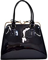 Dasein Patent Faux Leather Frame Satchel