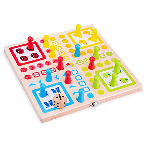 New Classic Toys 10805 Ludo Game Educational Color Perception Toy for Preschool Age Toddlers Boys Girls