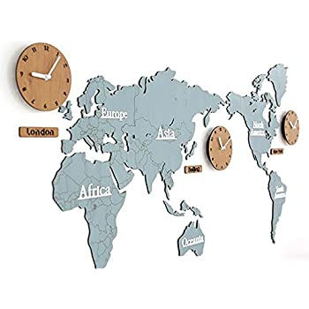 Amazon new york time wall clock world time zone clock office mcc creative home decoration world map large wall clock simple diy personalized art wooden 3 country gumiabroncs Choice Image