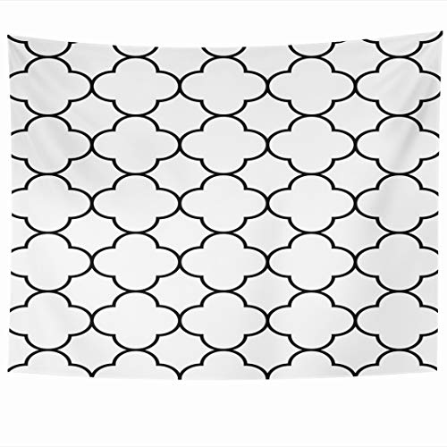 Ahawoso Tapestry 60x50 Inch Pattern Eastern Black White Arabic Geometric Quatrefoil Classic Abstract Middle Geo Moroccan Simple Tapestries Wall Hanging Home Decor for Living Room Bedroom Dorm