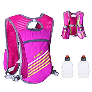 Triwonder Outdoors Mochilas Trail Marathoner Running Race Hydration Vest Hydration Pack Backpack (Rose Red - with 2 Water Bottles)