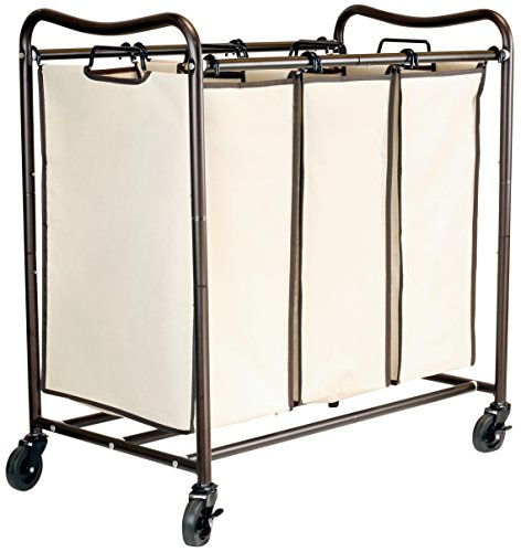 DecoBros Heavy-Duty 3-Bag Laundry Sorter Cart, Bronze by Deco Brothers