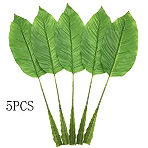 HWKAIZ Artificial Leaves, 5PCS Silk Faux Plants Leaf Table mat Fake Birds of Paradise Tree Leaves for Indoor, Outdoor Decoration Tropical Flower Leaf(Light Green) 43