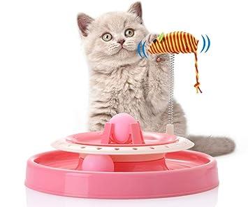 LIUQIAN Suministros para Mascotas Juguete para Gatos Disco Giratorio Placa giratoria Inteligencia del Gato Juego Loco Disco Juguete para Mascotas: ...